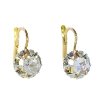 Vintage earrings with large rose cut diamonds by Unknown Artist