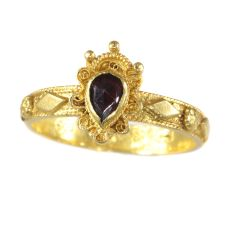 Late Baroque gold garnet ring hallmarked Amsterdam 1692 by Unknown Artist