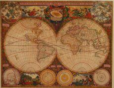 De Wit's first world map by Doncker, Hendrik (c. 1625-1699)