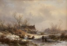 A winter landscape with frozen waterway by Pieter Lodewijk Francisco Kluyver