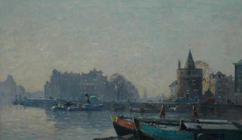 Prins Hendrikkade with the Schreierstoren in Amsterdam by Willem Knip