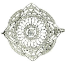 Antique platinum Edwardian diamond brooch by Unknown