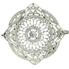 Antique platinum Edwardian diamond brooch by Unknown