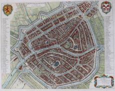 17DE-EEUWSE STADSPLATTEGROND VAN LEIDEN      by Blaeu, Joan