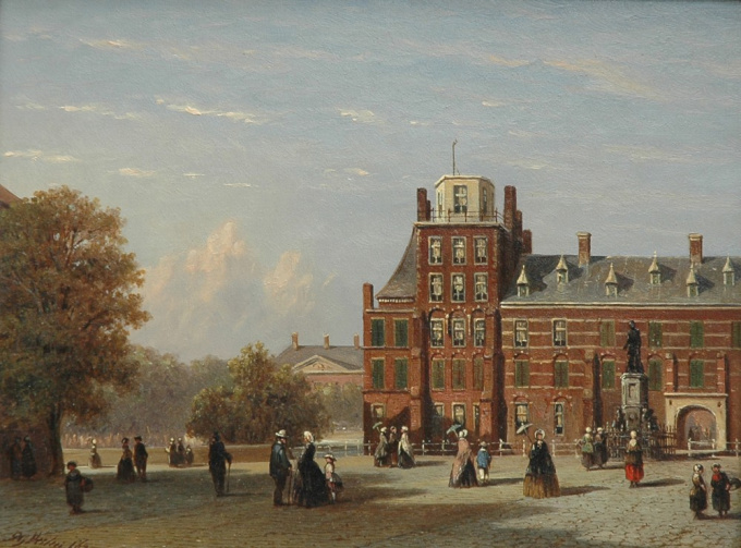 View of the Buitenhof in The Hague as seen from the Stadhouderlijk Kwartier by Petrus Gerardus Vertin