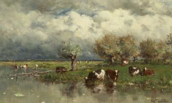 Cows in a water landscape by Willem Roelofs