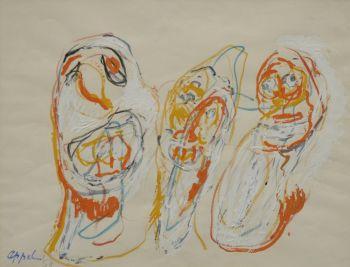 Trois clowns by Karel Appel