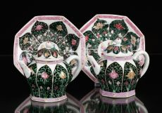 Pair of Famille Rose Teapots with Stands, China