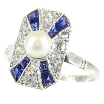 Stylish Art Deco diamond sapphire and pearl ring by Unknown Artist