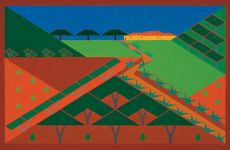 A landscape with olive trees by Lou Loeber