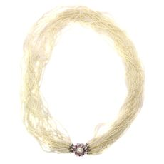 Vintage pearl necklace with 13000+ pearls and white gold diamond ruby closure by Unknown Artist