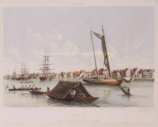 Gezigt op de Waterkant en reede van Paramaribo  by Buffa & Zonen, Frans