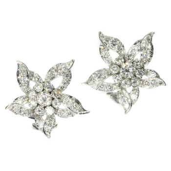 Estate diamond loaded ear clips by Unknown Artist