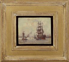 Sailing ships in the harbour of Rotterdam by Evert Moll