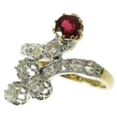 Late Victorian crossover ring with diamonds and ruby by Unknown Artist