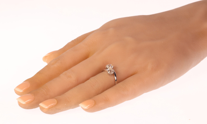 Vintage romantic diamond engagement ring a so-called toi et moi by Unknown Artist