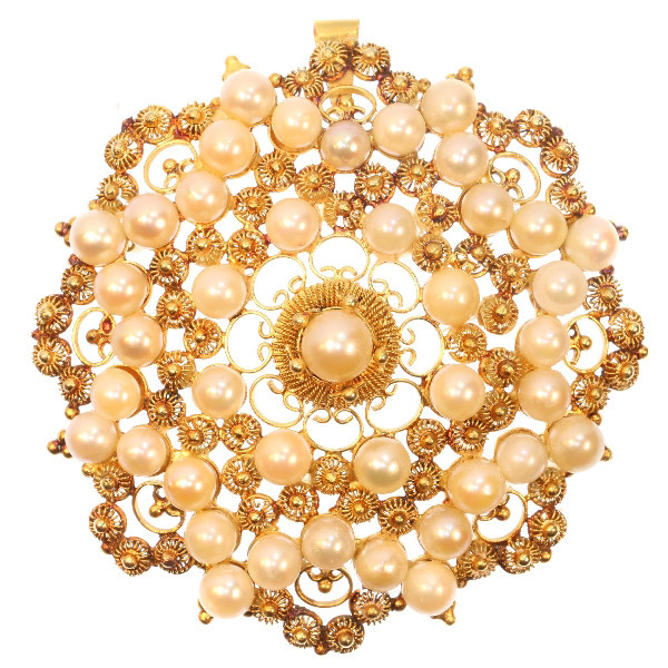 Antique gold filigree pendant big solar disk pearl set also brooch by Unknown Artist