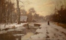 Winter Landscape with a Farmhouse and a Wandering Figure by Louis Apol