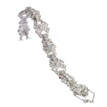 Vintage platinum diamond bracelet Art Deco style made in the Fifties by Unknown Artist