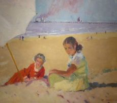 Two girls under a beach umbrella by Frans Smeers