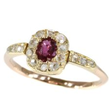 Charming diamond ruby Victorian antique ring by Unknown Artist