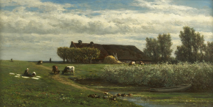 A polder landscape with a farmer's wife bleaching clothes by Willem Roelofs