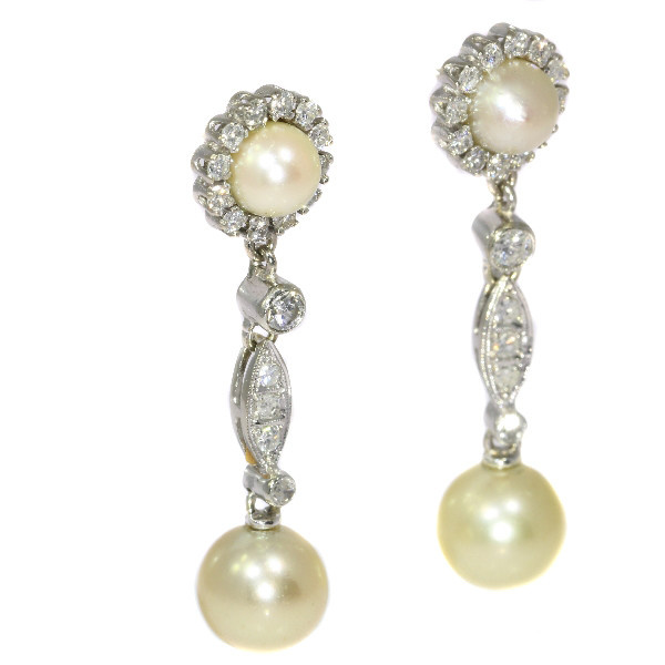 Vintage diamond and pearl ear drops by Unknown