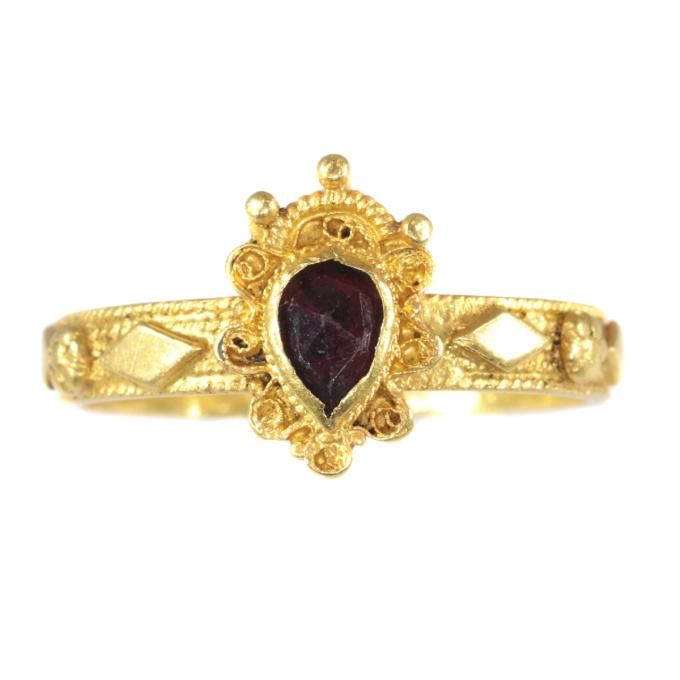 Late Baroque gold garnet ring hallmarked Amsterdam 1692 by Unknown Artist