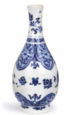 A fine blue and white bottle vase by Unknown Artist