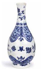 A fine blue and white bottle vase