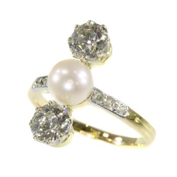 Vintage diamond and pearl engagement ring Belle Epoque period by Unknown Artist