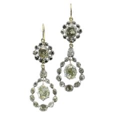 Late Georgian early Victorian long pendent rose cut diamond earrings
