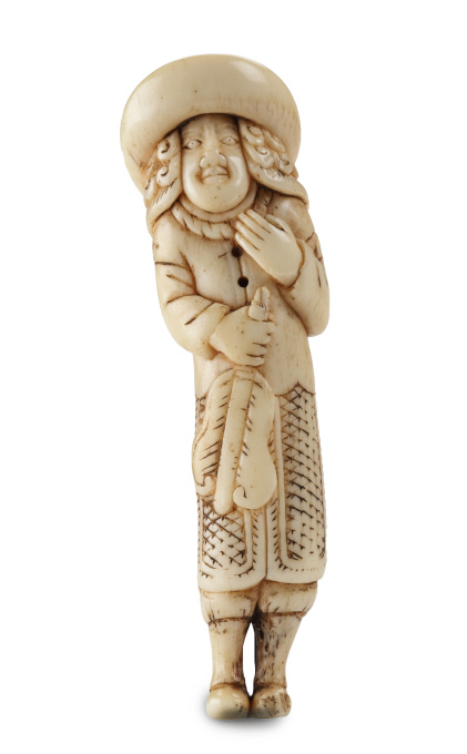 A MARINE IVORY NETSUKE OF A DUTCHMAN HOLDING A CHINESE FAN by Unknown Artist