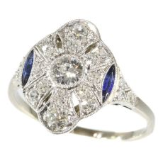 Belle Epoque Art Deco diamond and sapphire platinum engagement ring by Unknown Artist