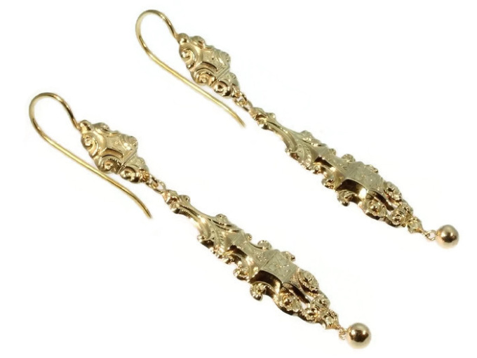 Long pendant Victorian gold earrings by Unknown