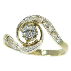 Belle Epoque diamond engagement ring so called tourbillon model or twister by Unknown Artist