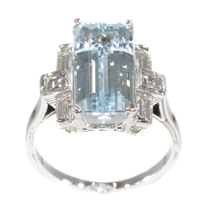 Vintage Fifties design white gold ring with aquamarine and diamonds by Unknown