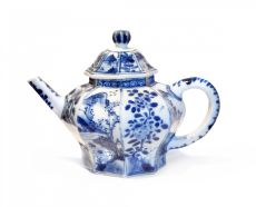 Chinese blue and white porcelain tea pot and cover