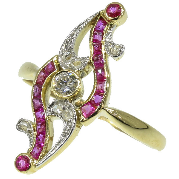 Elegant Belle Epoque ruby and diamond ring by Unknown Artist