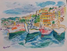 Stunning Mediterranean Harbor by Unknown Artist