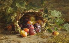 Still life with prunes on a forest ground by Geradina Jacoba van de Sande Bakhuyzen
