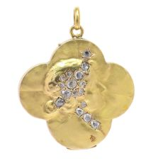 Art Nouveau locket lady's head in four leaf clover set with rose cut diamonds by Unknown Artist