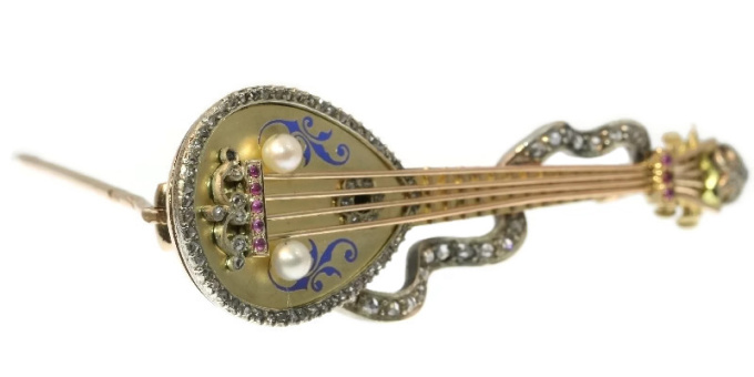 Russian antique brooch mandoline or domra with rose cut diamonds and enamel by Unknown