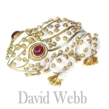David Webb signed white frog large brooch with ruby eyes by Unknown Artist