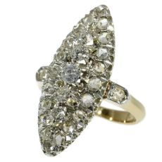 Antique ring marquise shaped set with rose cut and old european cut diamonds by Unknown Artist