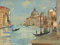 The Grand Canal with the Santa Maria della Salute in Venice by Jean-Francois Raffaelli