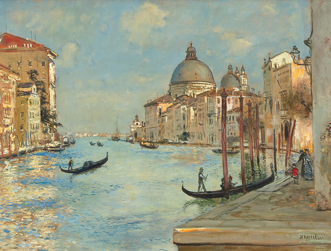The Grand Canal with the Santa Maria della Salute in Venice by Jean-Francois Rafaelli