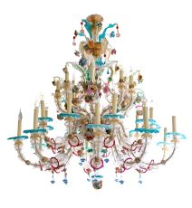 Exuberant Venetian Murano Glass Chandelier by Unknown Artist