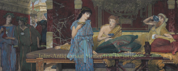THE DINNER /A ROMAN BANQUET/THE FIRST COURSE/A ROMAN FAMILY AT DINNER  by Lawrence Alma-Tadema