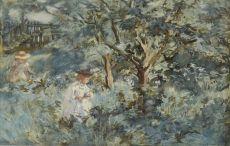 Children in the garden by Johannes Evert Akkeringa